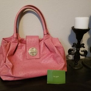 Kate Spade pink purse with polka dots inside